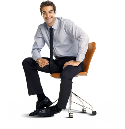 Man sitting in chair smiling